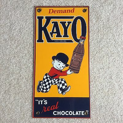 """Vintage Demand Kayo """"It's Real Chocolate Porcelain Advertising Sign 12"""" x 6"""""""