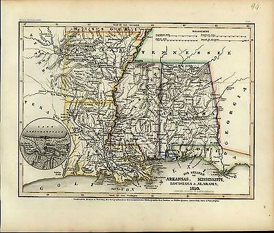 New Orleans Louisiana Alabama Mississippi River c.1850 old antique Meyer map