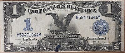 1899 Large Size Black Eagle $1 Silver Certificate! Rare note, n844