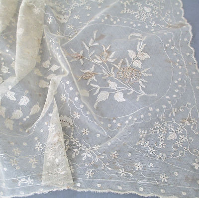 "Vintage Ecru French TAMBOUR LACE 44"" Runner Embroidered FLOWERS * Imperfect"