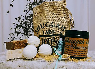 Shuggah Labs gift bag Scrub, soap, bath bombs, lip balm! Adorable Burlap Sack!