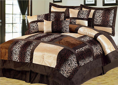 Full Queen Cal King Bed Solid Chocolate Brown Trellis Faux Fur 4pc Comforter Set