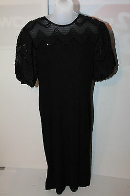 Women's Leslie Fay Dress Black Party Size 12 Sequin