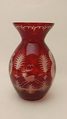 Egermann Bohemian Czech Ruby Red Cut Clear Cased Glass Vase With Stag & Goose ?