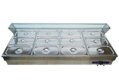 12-Pan Hot Well Kitchen Bain-Marie Buffet Food Warmer Steamer Table 1/3Pan