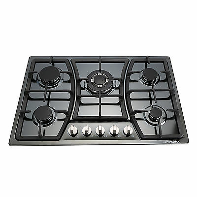 Windmax 760mm 5 Burner Titanium GAS Stainless Steel Hot Plate Gas Stove Cooktop