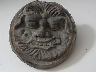 Antique  Mongolian Tibetan Buddhist Hand Made Clay  Lion Face