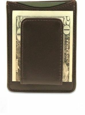 Brown Genuine Leather Cowside Magnetic Plain Card Wallet Money Clip Front Pocket