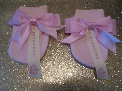 Romany Baby Girl Pink Satin Bow My Princess Scratch Mittens  0 - 3 Mth