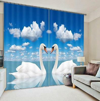 3D White Swan 8 Blockout Photo Curtain Printing Curtains Drapes Fabric Window CA