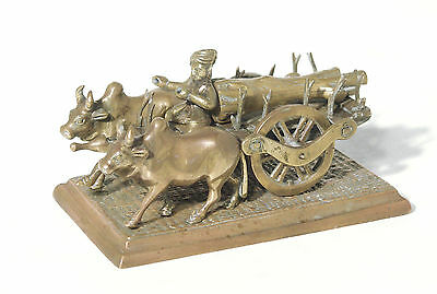 Vintage Indian Ox and Cart Brass Figurine