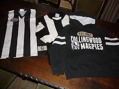 afl vfl collingwood magpies football jumper jersey child size 10 12 1x signed