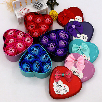 6Pcs Heart Scented Bath Body Petal Rose Flower Soap Wedding Decoration Gift Best