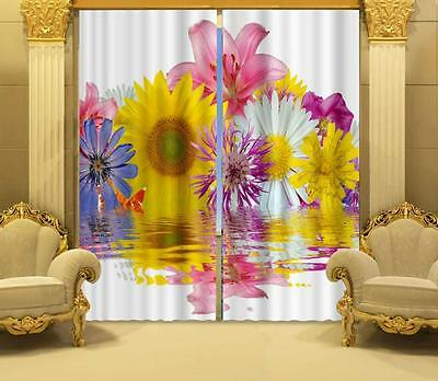 3D Lily Flower Blockout Photo Curtain Printing Curtains Drapes Fabric Window CA