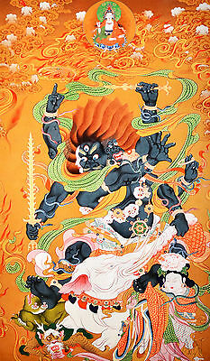 "40"" Blessed Tibet Mineral Color Thangka! Mahakala Defeat Elephant Evil & Demon ="