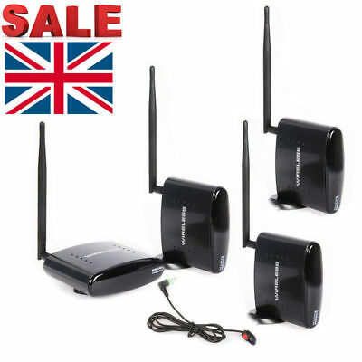 UK Sale PAT-260 2.4G Wireless AV Sender 1 Transmitter 3 Receivers + IR Extension
