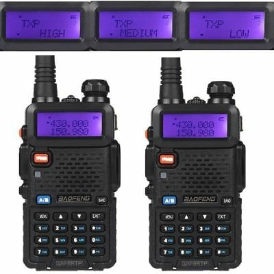 2x Baofeng UV-5R TP 136-174/400-520MHz Tri-Power 1/4/8W FM Ham Two-Way Radio HP