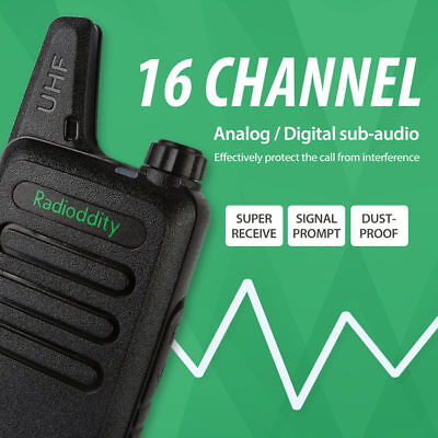 Radioddity R1 Walkie Talkie UHF 400-512Mhz 16CH USB Charging Thin VOX TOT Black