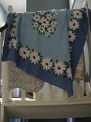 Vintage '60s Dunmoy tablecloth blue white daisy flowers