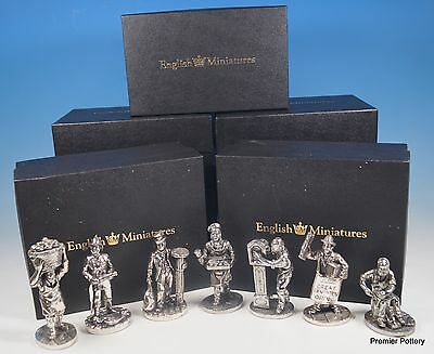 English Miniatures Fine Art Sculptures Various Working Men Pewter Figurines x 7