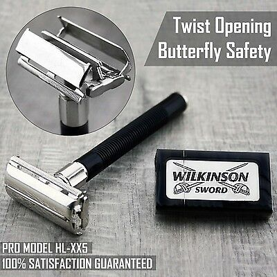 Butterfly Safety Razor & 5 Wilkinson Double Edge Blades Classic Shaving Vintage