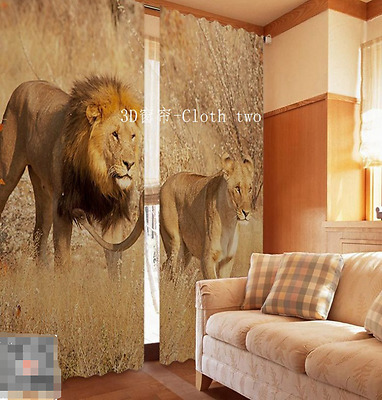 3D Grass Lion 5 Blockout Photo Curtain Printing Curtains Drapes Fabric Window CA