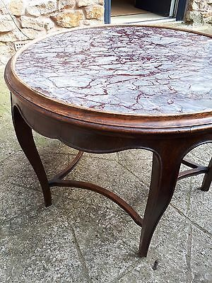 Antique Edwardian Oak Coffee Table Side Table With Marble Top