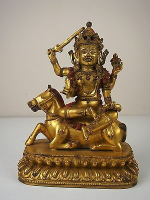 A Tibetan Gilt Bronze Figure of Palden Lhamo, 18th Century possibly