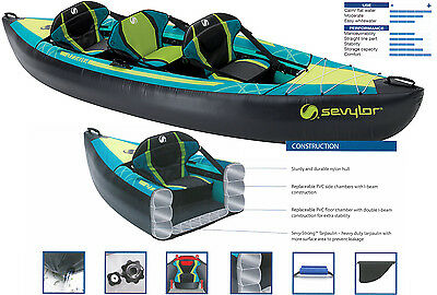 Sevylor Ottawa  2 + 1 person Inflatable Kayak Canoe with Accessories