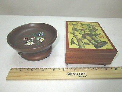 Wood Music Box Lot of 2 Cuendet Hummel Moon River Holiday in Switzerland Working