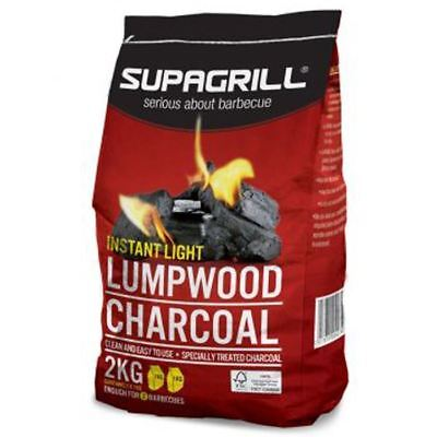 Supagrill Instant Light Lumpwood Charcoal 2KG Hardwood BBQ Barbecue Grill Fuel