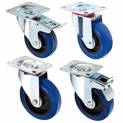 4x NON-MARKING 100-125mm RUBBER CASTOR WHEELS With/Without Brake Furniture Dolly