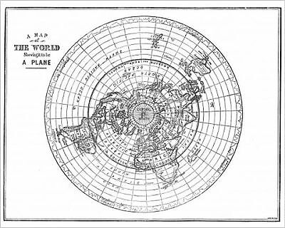 25x20cm Photo-Flat Earth map of the world showing it to be a plan-7221695-8105
