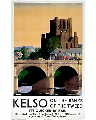 25x20cm Photo-'Kelso on the Banks of the Tweed', LNER pos-10007072-8105