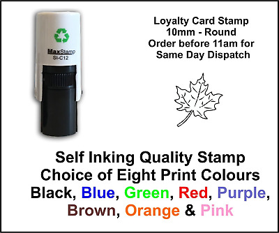 Loyalty Card Stamp Leaf Professional Quality Self Inking 10mm FREE POST