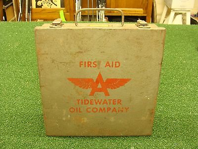 FLYING A GASOLINE Tidewater Oil Co Vintage FIRST AID KIT metal box SEE ALL PICS