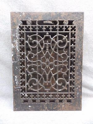 Antique Cast Iron Heat Grate Vent Register Old Design Decorative 12x8 563-17R