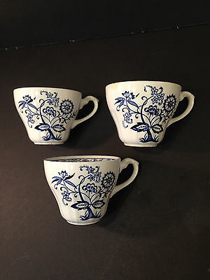 """Lot of 3 J & G MEAKIN BLUE NORDIC """"Onion"""" English Ironstone Cups ENGLAND"""