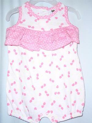 DG BABY Infant Girls Size 3-6 Months One-Piece Pink Cherry Print Summer Outfit