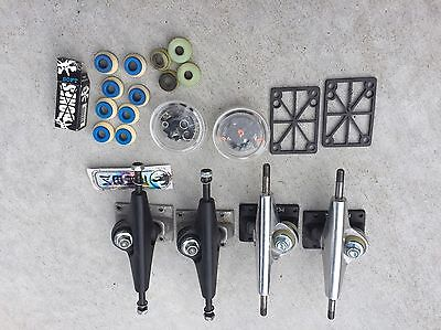 KRUX SILVER and Black Trucks 2 Sets of 2 New And Used And Misc Parts