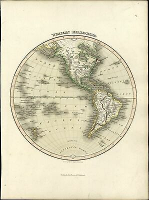 Western Hemisphere North South America beautiful 1819 Thomson antique old map