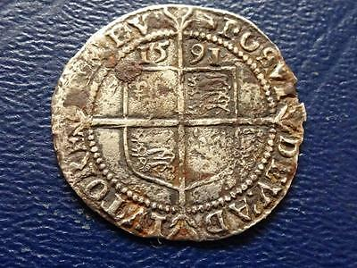 Elizabeth 1St Hammered Silver Sixpence 1591 Mm Hand Great Britain Uk