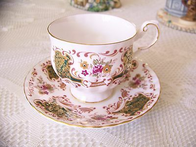 Queen's footed Tea Cup And Saucer ,   Rosina China England,