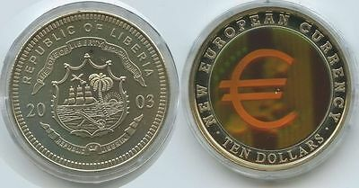 G0365 - Liberia 10 Dollars 2003 EURO Multicolor Hologramm NEW EUROPEAN CURRENCY