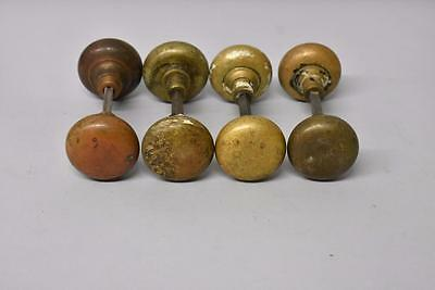 8 Antique Brass Door Knobs Handles Heavy Cast