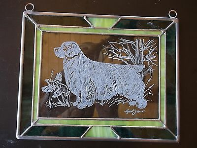 Clumber Spaniel- Beautifully hand engraved Panel by Ingrid Jonsson