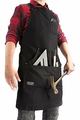 Hudson Durable Goods Waxed Canvas Apron Black Tool Pockets Large Versatile Works