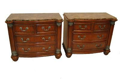 Pair Of Marble Top Bachelor Chest End Tables With 4 Drawers By Drexel Heritage