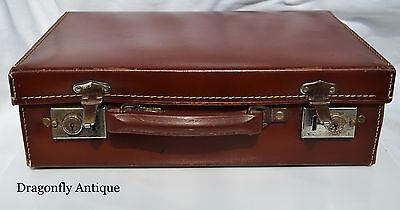 Vintage Antique 1950s Hard Brown Box Leather Small Suitcase Briefcase Case