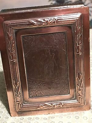 Antique box with war scene. Military.